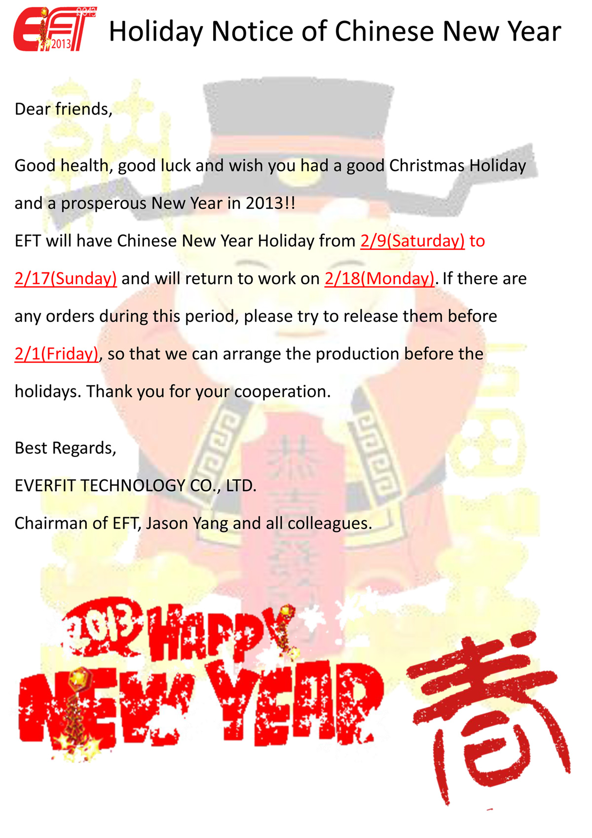 Holiday Notice Of Chinese New Year Eft News And Events